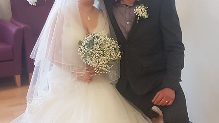Charlie Pullen and Jade Davies-Lowton from Clacton on their wedding day. Picture: Contributed