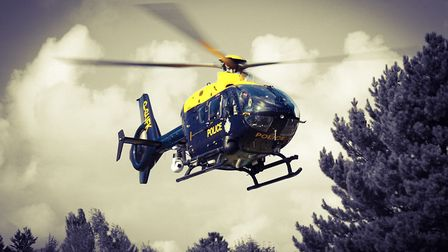 The police helicopter. Picture: KRIS PAGE
