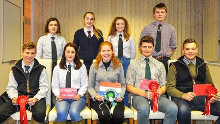 Jane Townsend with the Winter Stock competition winners. Picture: CARL WHITMAN