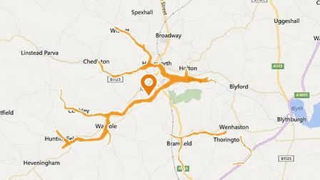 A flood warning has been issued following heavy rain near Halesworth. Image: ENVIRONMENT AGENCY