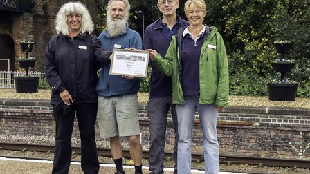 Beccles station adopters Nicky and Graham Elliott, Dave Mills and Anneke van den Berg, earlier this