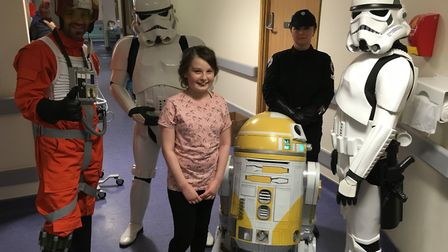 Star Wars characters meet patient, Willow Smith (12), on Colchester Hospital's children's unit. Pict