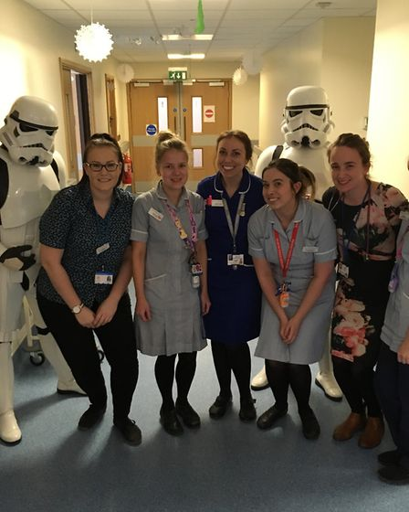 Staff from Colchester's children's unit with Star Wars Stormtroopers. Picture: COLCHESTER HOSPITAL