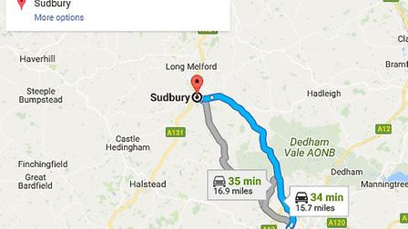 Map showing the distance between St John's Walk in Colchester and Sudbury. Picture: GOOGLE