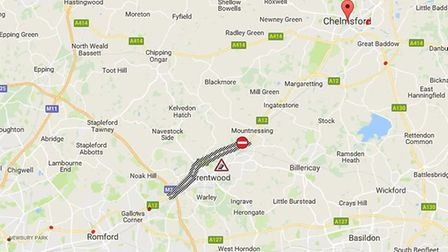 The area of the A12 where a fatal collision took place this morning (December 30, 2017). Picture: GO