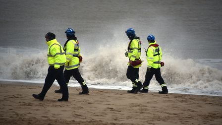 The search for missing girl Sophie Smith continues on Winterton beach. Picture: ANTONY KELLY