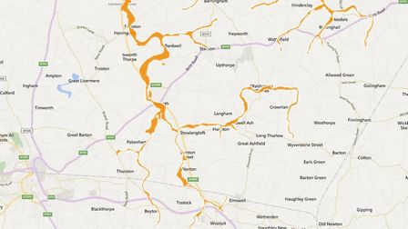 Flood alert in force for the Suffolk and Norfolk areas surrounding rivers Little Ouse and River Thet