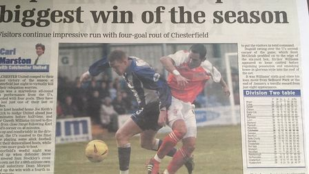 How the EADT reported on the U's 4-0 win at Chesterfield in March, 2003