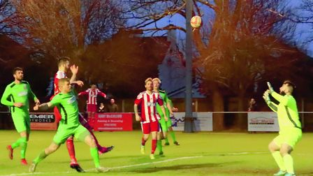 GOAL! Miles Powell heads home Ethan Clarke's cross to seal the win for the Seasiders against Gorlest
