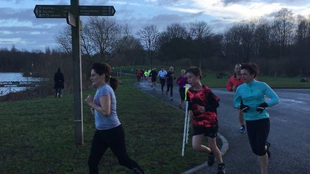 No need for signposts: the 5K course was clear for all to follow at last Saturday's Peterborough par