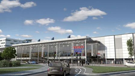 Tesco Gratfon Way:A CGI of the superstore that never was.Picture: VIA THE IPSWICH SOCIETY