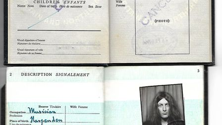 Martin Newell's first passport, 1966, and second, 1975. Picture: MARTIN NEWELL