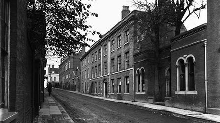 The buildings in Hatter Street, Bury St Edmunds, prior to it becoming a cinema