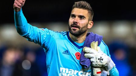 Thumbs up from Bartosz Bialkowski after Town's 3-0 win over Preston North End. Photo: Steve Waller