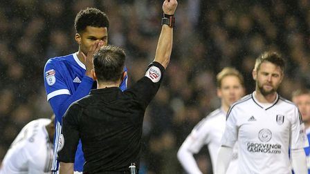 Jordan Spence sees red at at Fulham last night. Picture: PAGEPIX LTD