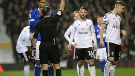 Jordan Spence is sent off at Fulham Picture Pagepix