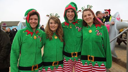 Colourful costumes for the Southwold Christmas Day swim. Picture: CATHY RYAN