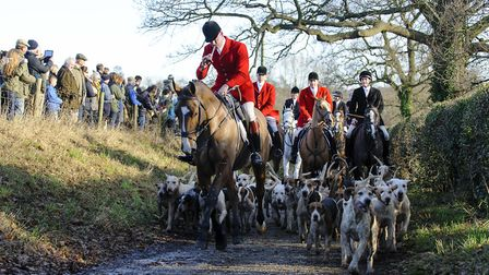 Members of the Essex and Suffolk Hunt gather in Hadleigh on Boxing Day. Photo taken at 2016 event.