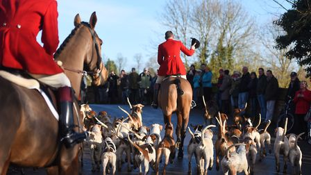 Riders head into Hadleigh before taking to the fields in this year's Boxing Day hunt. Picture: GREGG