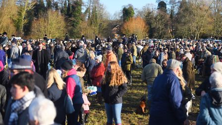 Hundreds gather to see the start of Hadleigh's annual Boxing Day hunt. Picture: GREGG BROWN