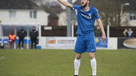 Rory McAuley marshalled the Lowestoft defence superbly in their win at Leiston. Picture: NICK BUTCH
