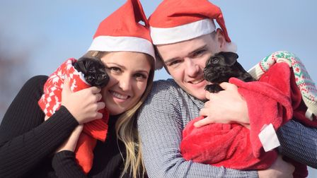Stars of the Ipswich Regent pantomime George Sampson and Lauren Grice with Blue Cross puppies Bean a