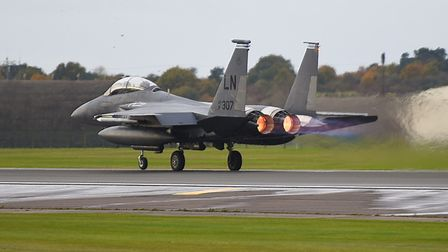 An F15 from Lakenheath was involved in a near miss with a RAF helicopter. Picture: GREGG BROWN