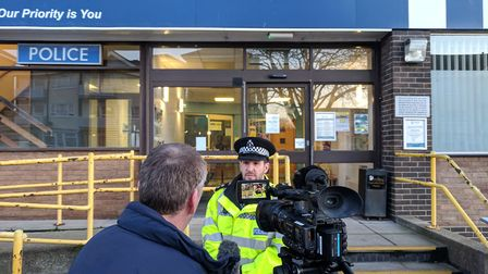 Insp Will Drummond briefs media outside Great Yarmouth Police Station about cctv images showing a wo