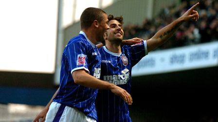 Ipswich Town forward Pablo Counago celebrates his first half goal with Jon Walters against Derby