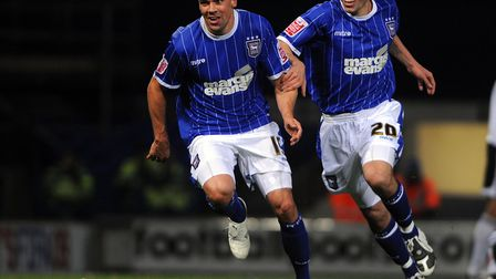 Jon Walters celebrations his goal with Darren Ambrose against Derby at Portman Road