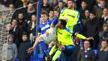 Adam Webster became Ipswich Town's latest injury victim in Saturday's 2-1 home defeat to Fulham. Pho