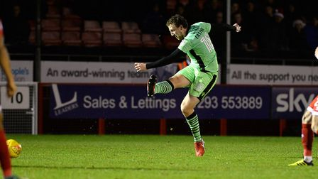 Tom Eastman, shooting during the second half of the 2-0 win at Crawley Town on Boxing Day. Picture: