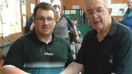 Steven Gray, left, won the Britannia Top 16 table tennis title. Picture: CONTRIBUTED