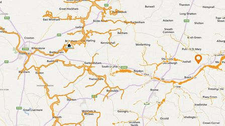 A flood alert is in place for the River Waveney. IMAGE: ENVIRONMENT AGENCY/GOOGLE