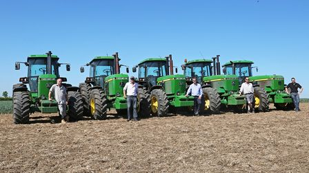 The tractors and team behind the Project 55 DVD, from left: Simon Gibbons (4055), Angus Hamilton (42