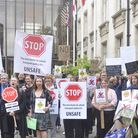 Parents and councillors from a number of Essex villages protested outside County Hall in Chelmsford
