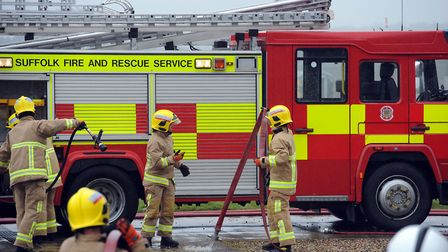 Crews from Suffolk and Norfolk are on scene. Picture: PHIL MORELY