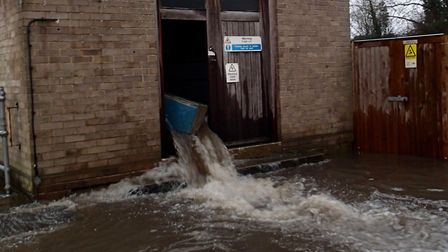 Flooding from the sewage station. Picture: SIMON RUDLAND
