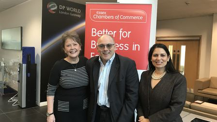 Denise Rossister, chief executive of Essex Chambers of Commerce, with MPs Robert Halfon and Priti Pa