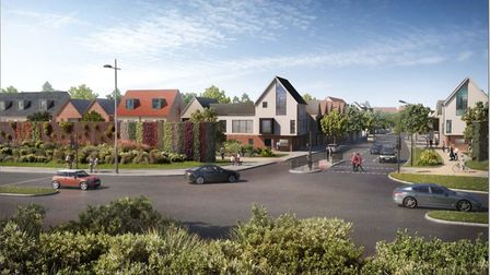 """Conceptual images of how the """"gateway"""" from the A12 into the Adastral Park housing development could"""