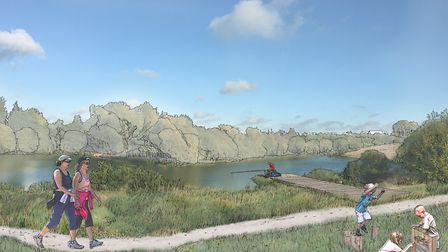 A view of the lake which will feature in the Adastral Park development. Picture: CEG