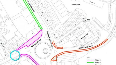 Roadworks at Tayfen Road in Bury St Edmunds will last for 16 weeks. Image: SUFFOLK COUNTY COUNCIL