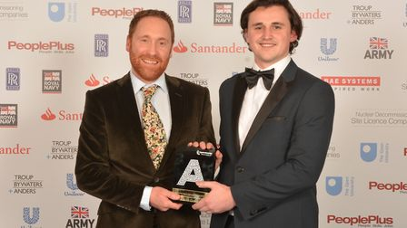 Rupert Sexton and Ashley Phillips of Maycast-Nokes Precision Engineering with their highly commended