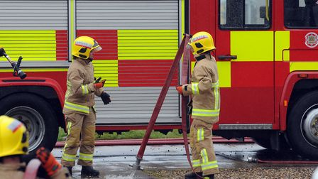 Firefighters from Maldon and Witham attended the barn blaze. Picture: PHIL MORLEY