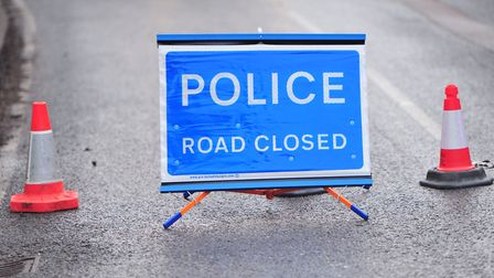 Police road closed sign. Picture: SARAH LUCY BROWN