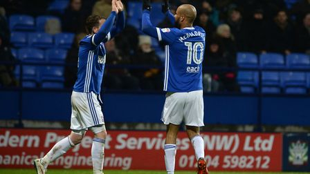 Joe Garner and David McGoldrick celebrate their link-up for the equaliser at Bolton Picture Pagepix