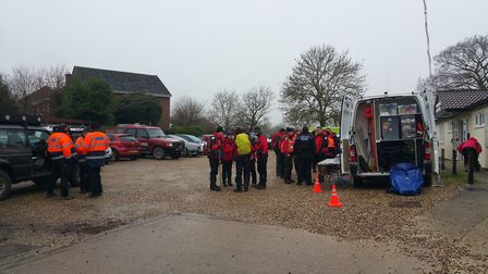 Search and rescue teams at Leavenheath village hall this afternoon. Picture: BEN SADLER