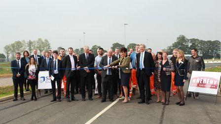 Dignitaries pictured at opening of the new Bury St Edmunds Eastern Relief Road. Picture: SUFFOLK COU