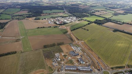 The new Eastern Relief Road between Bury St Edmunds and Moreton Hall