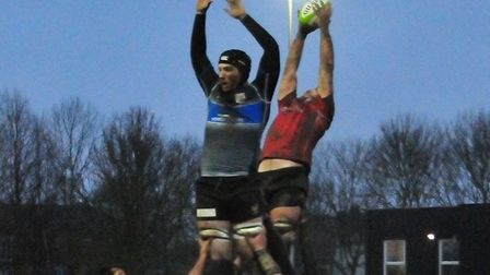Inch perfect from Charlie Thorogood to Liam Pickett at the Colchester line-out against Chingford. Ph